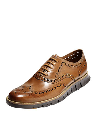 ZeroGrand Wing-Tip Oxford, British Tan