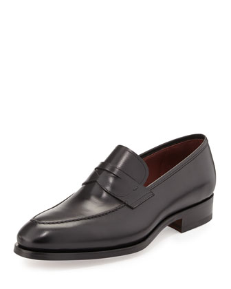 Almond-Toe Penny Loafer, Black