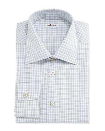 Check Woven Dress Shirt, Blue/Green
