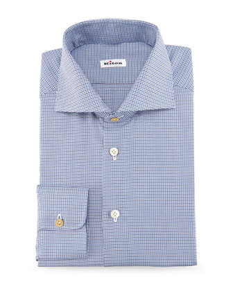 Grand Bold-Stripe Dress Shirt, Blue/Brown