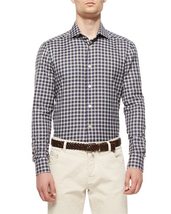 Check Long-Sleeve Shirt, Navy/Purple/Green