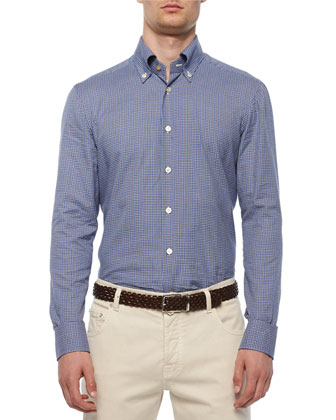 Check Long-Sleeve Woven Shirt, Blue/Navy