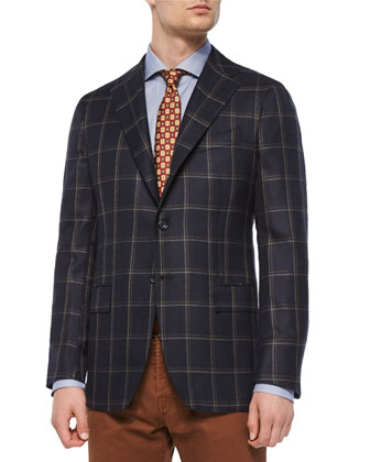 Double Windowpane Two-Button Sport Coat, Micro-Houndstooth Dress Shirt & ...