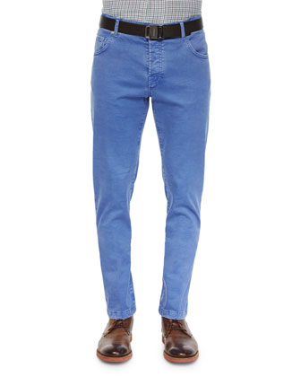 Twill Five-Pocket Pants, Blue
