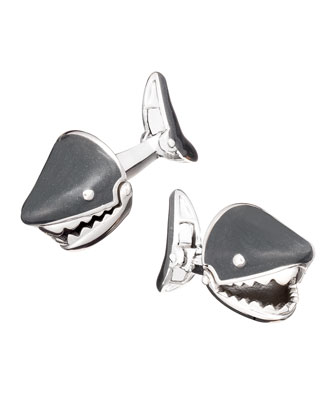 Moving Shark Jaw Cuff Link, Gray