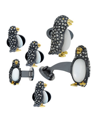 Marcasite Penguin Cuff Links & Studs Set
