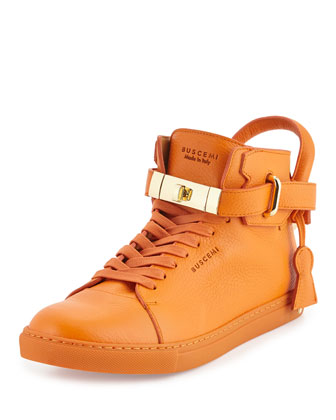 100mm High-Top Leather Sneaker, Orange