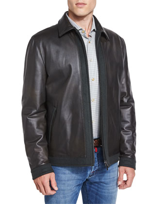 Leather Bomber Jacket with Cashmere Trim, Olive