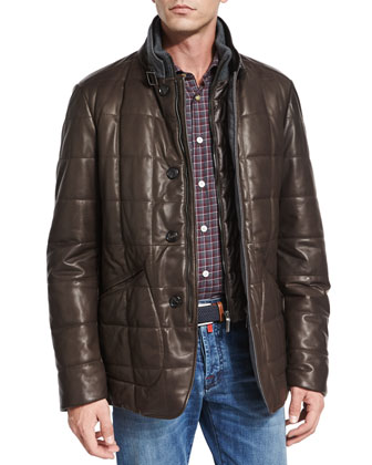Quilted Napa Leather Jacket, Check Dress Shirt & Slim-Fit Medium-Wash Denim ...