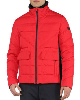 Basic Nylon Puffer Jacket, Red