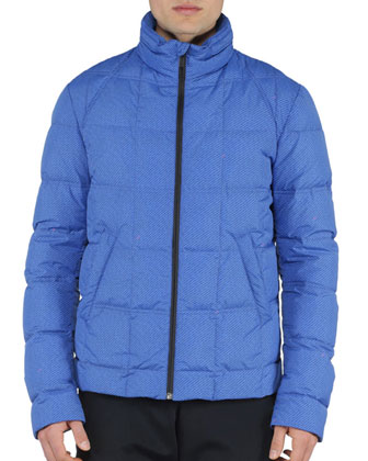 Roma-Print Puffer Jacket, Blue/Red