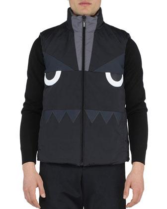 Monster-Face Reversible Vest, Dark Gray