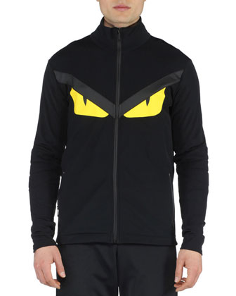 Monster Eyes Lightweight Zip-Up Jacket, Black