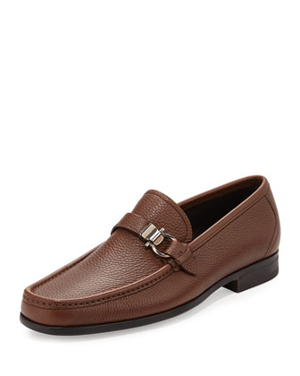 Muller Textured Calfskin Side Gancio Loafer, Brown