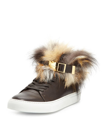 100mm High-Top Sneaker with Fur Collar, Chocolate