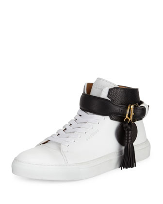 100mm Tassel Leather High-Top Sneaker, White