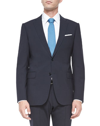 M-Line Stretch-Solid Two-Piece Suit, Navy