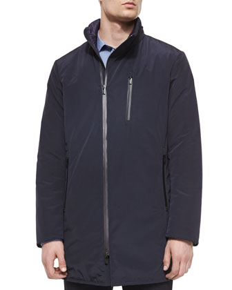 Stand-Collar Tech Jacket, Navy