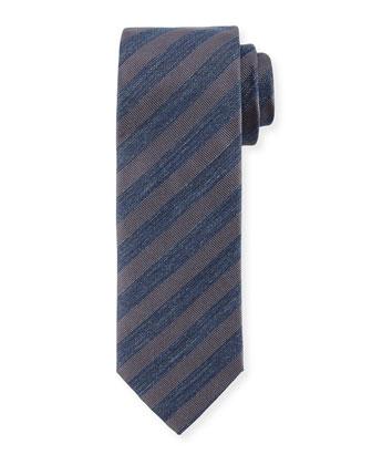 Striped Denim Silk Tie, Gray