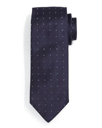 Denim Mini Dot Silk Tie, Navy