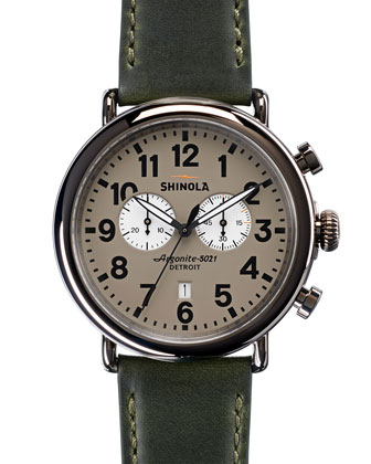 47mm Runwell Chronograph Watch, Green