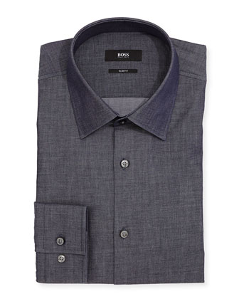 Slim-Fit Chambray Dress Shirt, Blue