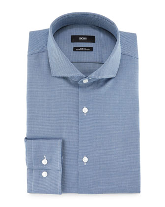 Jason Slim-Fit Textured Pindot Dress Shirt, Blue