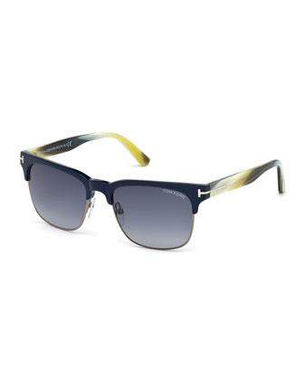 Buffalo Horn Sunglasses, Matte Blue