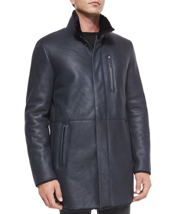 Long Leather Jacket w/Shearling Lining, Black