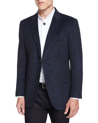 Tonal Plaid Two-Button Sport Jacket, Gray