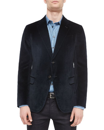 Textured Velvet Two-Button Jacket, Turquoise