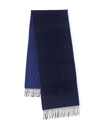 Reversible Cashmere Scarf w/Fringe, Navy/Blue Jay