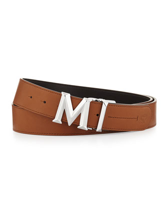 M Buckle Smooth Leather Belt, Tan