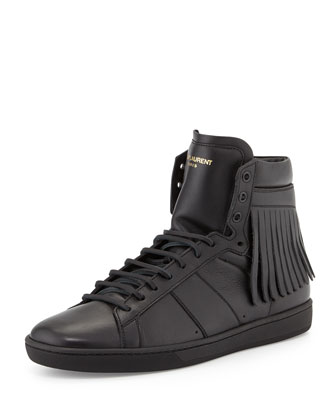 Leather High-Top Sneaker with Fringe-Detail, Black