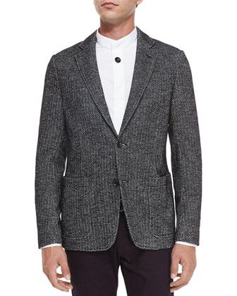 Herringbone Two-Button Jersey Blazer, Black