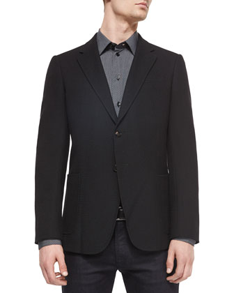 Textured Two-Button Sport Coat, Fine-Stripe & Dotted Woven Sport Shirt & ...
