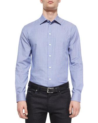Striped Woven Sport Shirt & Five-Pocket Slim-Fit Stretch Jeans
