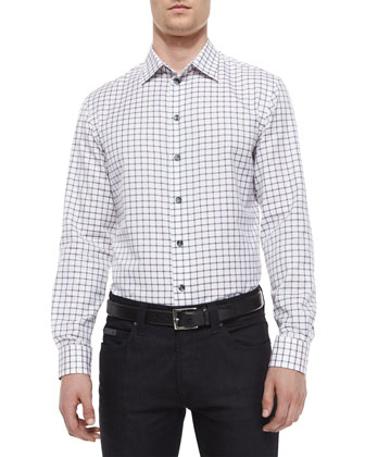 Check Woven Sport Shirt & Five-Pocket Slim-Fit Stretch Jeans