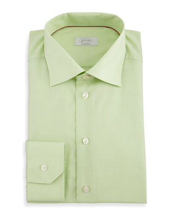Contemporary-Fit Micro-Check Dress Shirt, Green