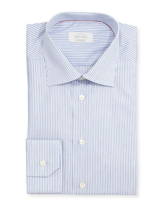 Contemporary-Fit Striped Dress Shirt, Navy