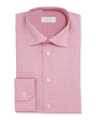 Contemporary-Fit Gingham-Windowpane Woven Dress Shirt, Red