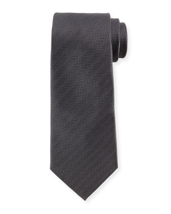 Herringbone Silk Tie, Gray