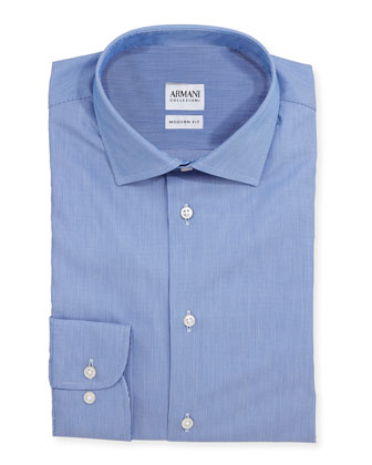 Modern Fit Textured Tonal-Striped Dress Shirt, Blue