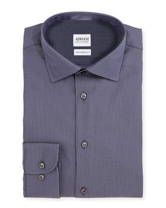 Modern Fit Waffle-Woven Dress Shirt, Gray