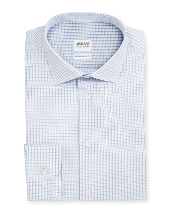 Modern Fit Shadow-Check Dress Shirt, White/Blue