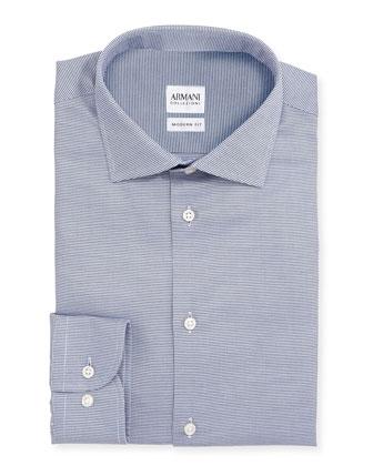 Modern Fit Textured Dress Shirt, Navy