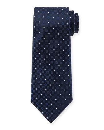 Square & Dot-Print Silk Tie, Navy