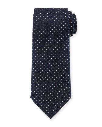 Textured Dot-Print Silk Tie, Navy