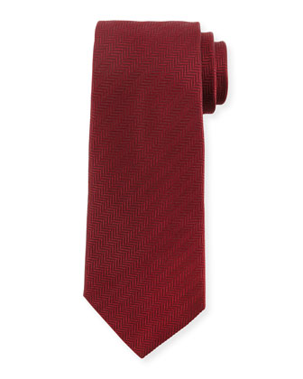 Textured Herringbone Silk Tie, Wine