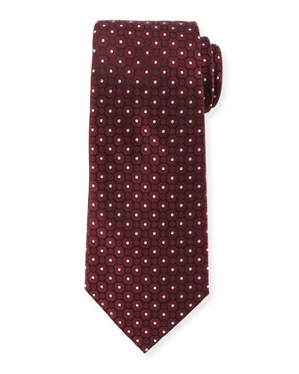 Small Medallion-Print Silk Tie, Wine